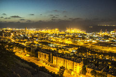 Perspective of Haifa, Israel. Night perspective of Haifa, Israel - vibrant background Royalty Free Stock Photography