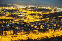 Perspective of Haifa, Israel. Night perspective of Haifa, Israel - vibrant background Royalty Free Stock Image