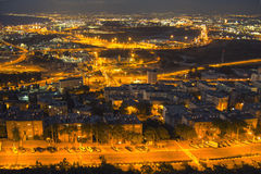 Perspective of Haifa, Israel. Night perspective of Haifa, Israel - vibrant background Stock Images