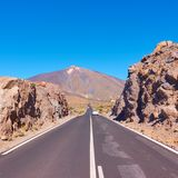 Perspective of highway to the Teide. Volcano in Tenerife Royalty Free Stock Photos