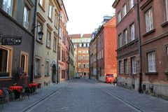 Street in the historic center of Warsaw Poland stock images