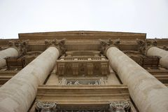Saint Peters facade closeup in Vatican royalty free stock images
