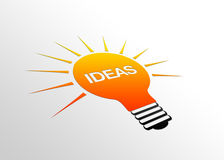 Perspective Idea Sign. High resolution perspective graphic of a glowing light bulb with the word Ideas Stock Images