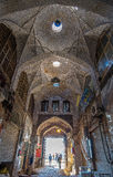 A perspective interior shot of a bazaar overlooking Naqsh-e Jahan Square in Isfahan, Iran which was under renovation at the time Stock Photo