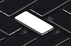 Similar to iPhone X perspective isometric smartphone mockup pattern front side and back sides black poster. Similar to iPhone X perspective view isometric Royalty Free Stock Images