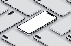 Similar to iPhone X perspective isometric smartphone mockup pattern front side and back sides white poster. Similar to iPhone X perspective view isometric Stock Image