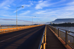 Perspective of japan laos bridge in morning light crossing mekong river in champasak southern of laos Stock Photography