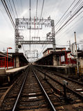 Perspective of local railroad in Japan Royalty Free Stock Photo