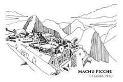 Perspective of Machu Picchu, Urbamba province, PERU, vector illu Royalty Free Stock Photos