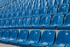 Perspective of many empty stadium seats Royalty Free Stock Photos