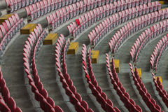 Perspective of many empty stadium seats Stock Photo