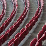 Perspective of many empty stadium seats Royalty Free Stock Image