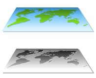 Perspective Map of The World. An illustration featuring your choice of perspective maps in colour and black and white Stock Photo