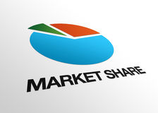 Perspective Market Share Sign. High resolution perspective graphic of a business pie and the word market share Stock Photography