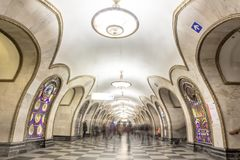 Perspective of Novoslobodskaya metro station in Moscow with people stock images