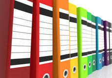 Perspective Office Folders. A row of colorful office folders in perspective view Royalty Free Stock Photo