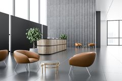 Perspective of office reception and lounge area stock illustration