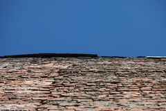 Perspective of old red brick wall and blue sky Stock Photography