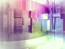 Perspective, open space, clean room with shapes in 3d, business. Space, hospitals or art gallery Stock Photo