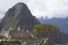 Perspective Pérou d'escaliers et de maisons de pierre de Machu Picchu Photographie stock libre de droits