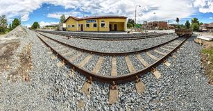 Perspective panorama shot of a railway track Stock Image