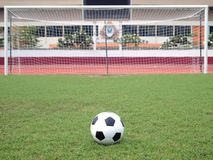 Perspective of penalty spot of soccer. Field Royalty Free Stock Photography