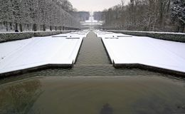 Perspective of ponds under the snow Royalty Free Stock Photos