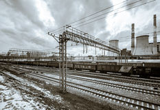 Perspective railway view, cloudy day Royalty Free Stock Photo