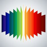 Perspective rainbow abstract rectangles on white Royalty Free Stock Photography