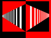 Perspective Red and Black. Perspective drawing of a eye drawing series of stripes and opposing colors Royalty Free Stock Photos