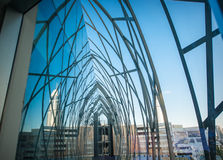 Perspective reflected in the glass building.  Royalty Free Stock Photography