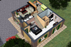 Perspective. Representation of architectural design with the technique of photo-realistic rendering, exploded prospective home decor Stock Images