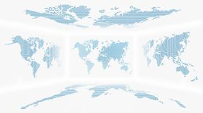 Perspective room and set of all side world map  Dotted design  background . Vector.  Stock Photo