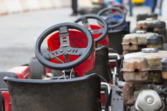 Perspective row of Go-kart ready to start Royalty Free Stock Photo