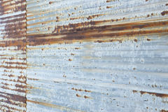 Perspective of Rusty Corrugated Steel Wall Stock Image