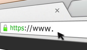 Perspective Secure web site browser address bar. Illustration of a secure web browser address bar with www. and a cursor pointing at the blank space Royalty Free Stock Image