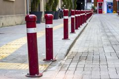 Perspective shoot of walkline red colored iron bars. Photo has ataken in Turkey royalty free stock photography
