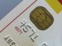 Perspective shot of credit card. Against the blue sky Stock Image