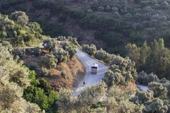 Perspective shot of a curved road. At the mountain in İzmir, Tire Royalty Free Stock Photos