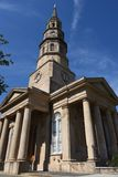 Perspective shot of a large church Stock Photography