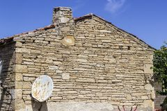 Perspective shot of old masonry building facade in Turkey. At the city Stock Photos