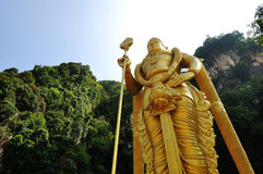 Perspective shot of Statue of Hindu God, Lord Murugan in Batu Caves, Kuala Lumpur, Stock Photos