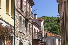 Perspective shot of traditional street in Agiasos at Lesvos. At summertime stock photos