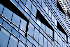 Perspective side of modern geometric skyscrapers Stock Photography