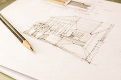 Perspective sketch of interior design Royalty Free Stock Photography