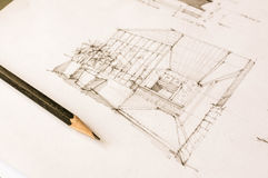 Perspective sketch of interior design Stock Images