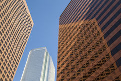 Perspective of skyscraper downtown los Angeles. LOS ANGELES, USA - JUNE 27, 2010: perspective of skyscraper KPMG tower and Deloitte and touche building downtown Stock Images
