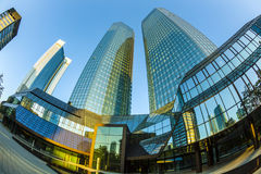 Perspective of skyscrapers in Frankfurt Stock Photo