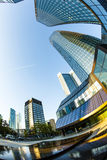 Perspective of skyscrapers in Frankfurt am Main Royalty Free Stock Photography