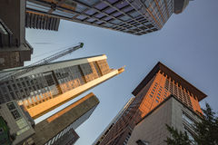 Perspective of skyscrapers in Frankfurt am Main Stock Images